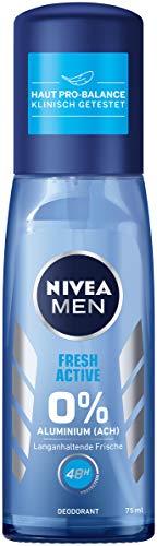 Nivea Men Fresh Active Deo verstuiver in 3-pack (3 x 75 ml), deodorant zonder aluminium met waardevolle zeeextracten, deodorant met 48 uur bescherming verzorgt de huid