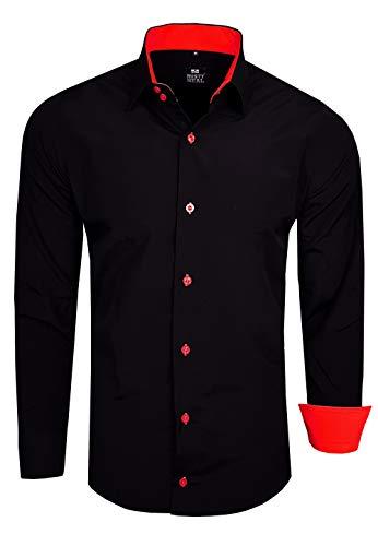 Rusty Neal Herren Hemd Stretch Business Kontrast Hemden Bügelleicht Slim 31 Farben S - 4XL, Farbe:Schwarz/Rot, Größe:L