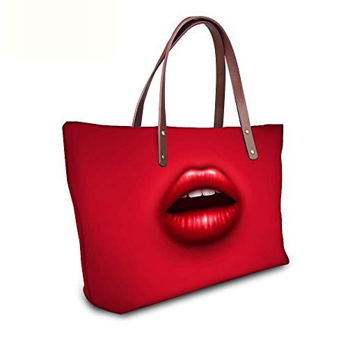 Damen Handtasche Shopper Tasche Sexy Lippen Henkeltasche aus Nylon für Schule Reisen Arbeit und Einkäufe Rot