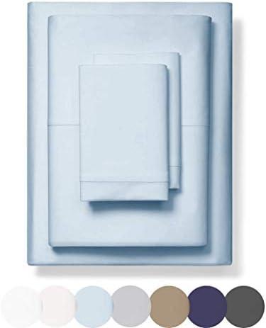 "1000 Thread Count 100% Long-Staple Egyptian Pure Cotton – Sateen Weave Premium Bed Sheets, 4-Piece Light Blue Queen-Size Luxury Sheet Set, Fits Mattresses Upto 17"" Deep Pocket"