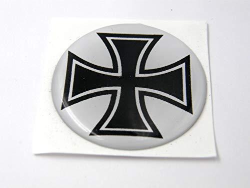 3D Doming Aufkleber rund Eisernes Kreuz schwarz-weiß (2er Set)