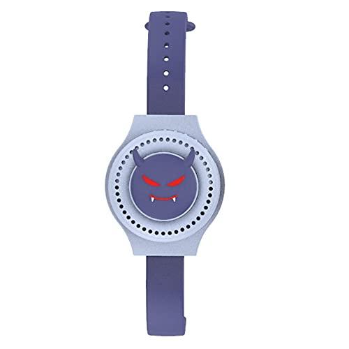 qunzi Uhrenventilator, tragbar, USB, wiederaufladbar, zweite Generation, Uhr, Mini-Ventilator, LED, bunte Lichter, Cartoonwatchfan (blau)
