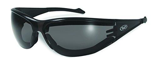 bruchsicher gepolsterte UV400 Rundum Motorrad/Biker Sonnenbrille mit kostenlosem Mikrofaser Aufbewahrungstasche