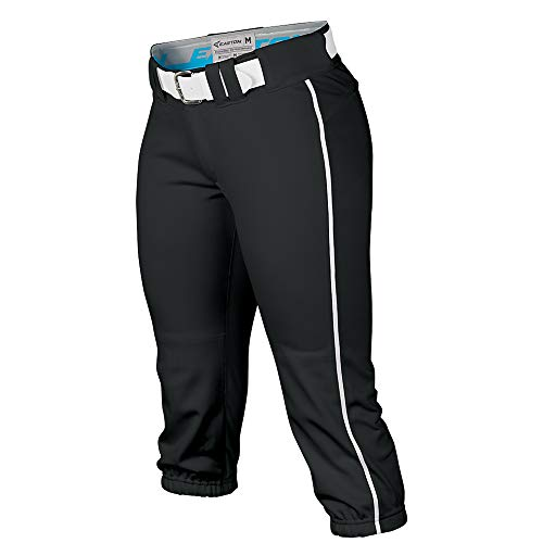 EASTON PRO Fastpitch Softball Pant | Womens | Medium | Black / White Piped | 2020 | Sewn Down Set In Back Pockets | Pro Style Belt Loop System | 2 Color Internal Waistband