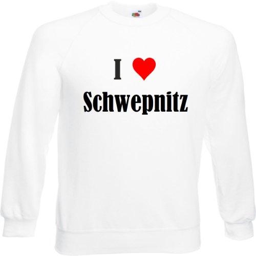 Reifen-Markt Sudadera I Love Schwepnitz para mujer, hombre y niños en los colores negro, blanco y azul con impresión Blanco S