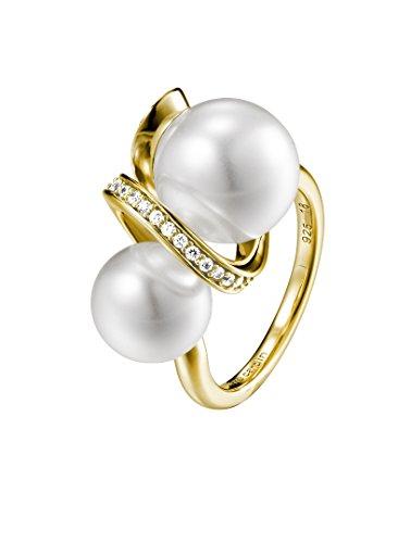 Pierre Cardin Anillo de Mujer Belle De MAI de Plata 925 con circonitas de Talla Brillante y Perlas sintéticas Blancas, Talla 50 (15,9) - PCRG90435B160, 53 (16.9), Cubic Zirconia,