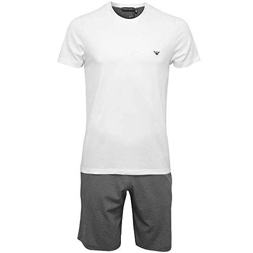 Emporio Armani Geo Print Shorts & Logo T-Shirt Men Pyjama Set, White/Black, M