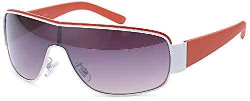 FEINZWIRN Designer Visor Sonnenbrille mit Monoscheibe und Verlaufsglas Unisex Sonnenbrillen (rot)