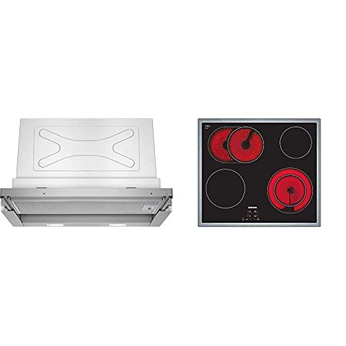 Siemens LI67RA530 iQ300 Flachschirmhaube / 59,8 cm/Lüfterleistung/Silbermetallic und ET645HN17E iQ300 Kochfeld / 58.3 cm/schwarz/Flachrahmen-Design/Digitales Funktionsdisplay