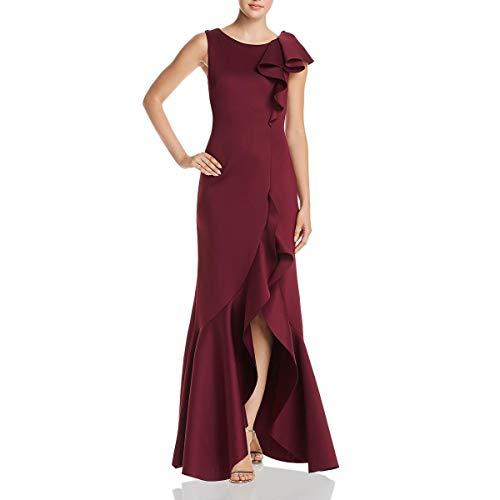 Eliza J Women's Asymmetric Ruffle Gown Formal Dress, Wine, 10