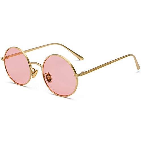Inlefen Gafas de sol Hombres Mujeres Redondo Vintage Círculo estilo Gafas de sol Gafas de marco de metal de color Gafas rosa dorado