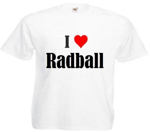 Camiseta I Love Radball para mujer, hombre y niños en los colores negro, blanco y rosa. Blanco 6 años
