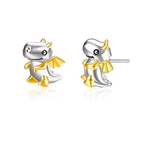 YFN Goldene Dinosaurier Ohrringe Sterling Silber Glückliches Tier Gestüt Ohrringe für Mädchen