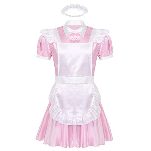 WATERMELON Männer Sissy Transe Kleidung Mädchen Cosplay Kostüm männliche Homosexuell DWT Halloween Rollenspiele Man Dessous for Cross-Dressing (Color : Pink, Size : L)