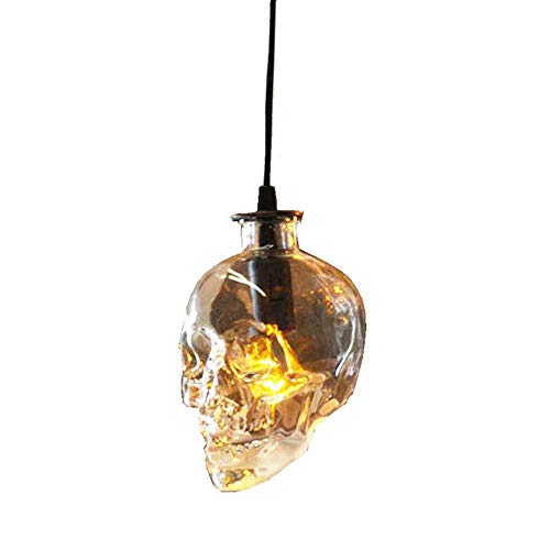 Iluminación cráneo de Cristal de la lámpara Colgante de luz de la lámpara Industrial cráneo Retro del Techo de la Cortina de Hierro Forjado Base, G9 Bulbos 6W Blanco cálido, 220V Rollsnownow