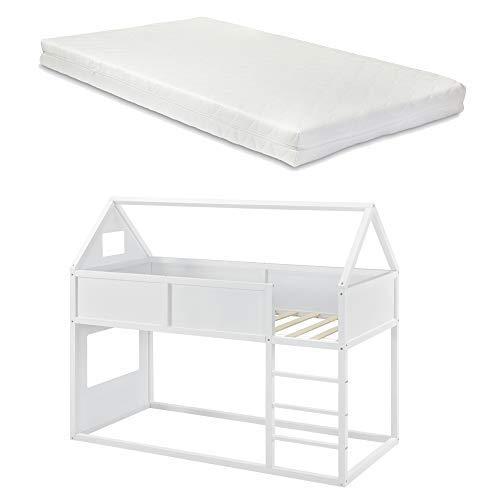 [en.casa] Kinder Hochbett mit Leiter und Matratze 90x200cm Etagenbett mit Kaltschaum-Matratze ÖKO-Tex 100 Hausbett aus Holz in weiß