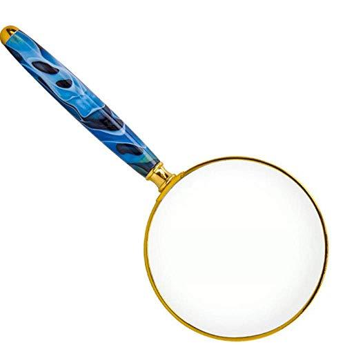 Gloednieuw, hoge kwaliteit, Vergrootglas 30 keer Draagbare Handheld Oude Man Lezen 20 keer Lezen Boek Lezen Krant Grote Spiegel Uitbreiding Spiegel, Blauw+Goud HD Draagbaar