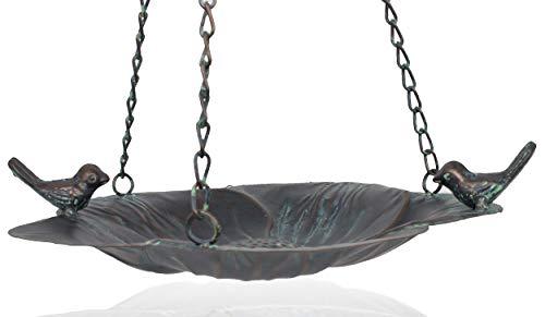 B2S BACK2SEASON Vogeltränke Bronze hängen aufhängen edel Vögel Vögelchen Tierfigur Vogelbecken Wasserspender Wasserstelle Schale Futterstelle Trinkstelle Vogelbad Futterschale Garten Deko Terrasse