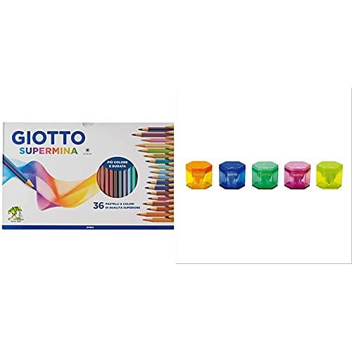 Giotto Supermina 36 Pastelli A Colori, Assortiti, 36 Pezzi & Temperamatite 3 Fori Assortiti 233000