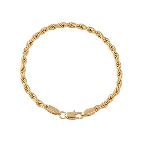 Heaviesk Joyería de Moda Cadena para Hombres y Mujeres con Longitud 21Cm 18K Chapado en Oro joyería de la Amistad joyería de Pareja encantos de Pulsera