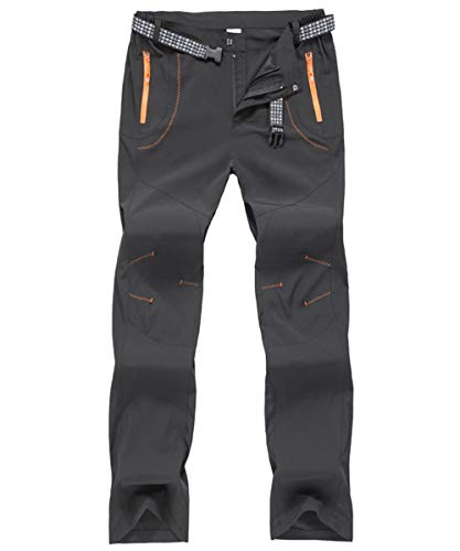 donhobo Wanderhose Herren Zip Off Wasserdicht Atmungsaktiv Sommer Trekkinghose Outdoor Camping Funktionshose (Schwarz, 34)