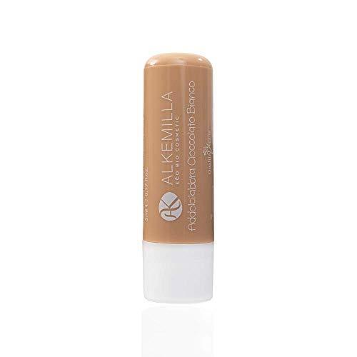 ALKEMILLA - Addolcilabbra Chocolat Blanc - Beurre hydratant pour les lèvres - Certifié Bio - Avec Huile de Noisettes,de Tournesol et de Ricin - Apaisant et Hydratant - Produit en Italie - 5 ml