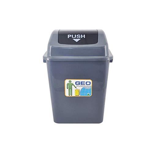 Kleine prullenbak verdikte plastic papiermand met deksel grijs buiten tuin schoonmaak box hotel halle vuilnisbak recyclingcontainer (maat: 20L) 20 liter.
