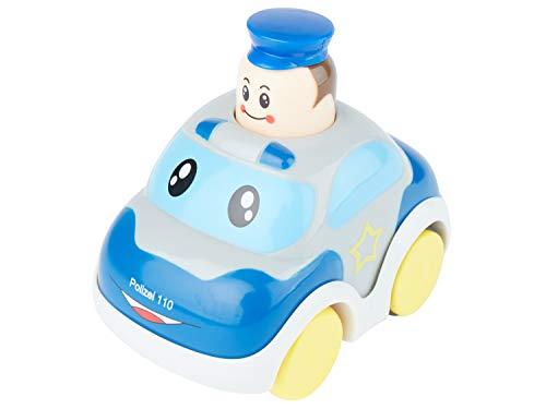 Bieco Drück & Los Flitzer Feuerwehr oder Polizeiauto, Spielzeug-Autos mit Aufzieh Mechanismus durch Kopf herunterdrücken, Rückzug Spielzeugautos ab 12 Monaten für Baby und Kinder