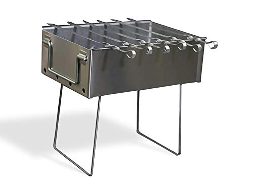 BAS Metal Stainless Steel Charcoal Grill Folding Portable Kebab Shish Barbecue BBQ Outdoor Cooking Camping 10x15 Mini Mangal