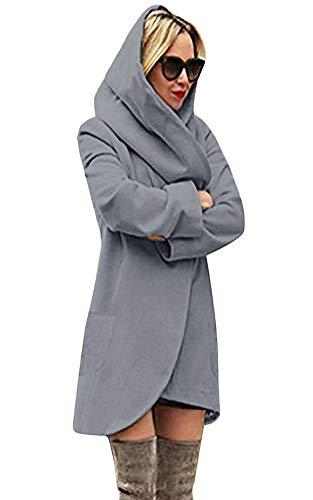 Minetom Basic Jacket Giacca con Cappuccio Donna Hoodie Cappotto Cappotti Autunno Inverno Cardigan Casuale Moda Parka Grigio Scuro IT 42