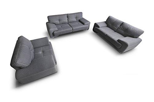 mb-moebel Polstergarnitur Sofa Set 3er & 2er & Sessel 3-2-1 Wohnlandschaft 3-Sitzer und 2-Sitzer Möbel Set - ENZO (Grau)