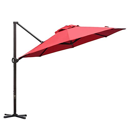 Abba Patio 11ft Patio Offset Hanging Umbrella Outdoor Cantilever Sturdy Umbrella with Crank & Cross Base & Easy Tilt, for Garden, Backyard, Pool and Deck, Dark Red