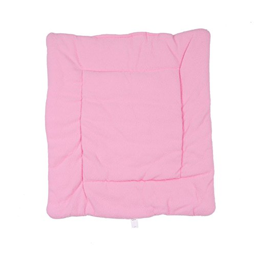 Tangc Pet Dog Crate Warm Bed Mat Kennel Cage Pad Fluffy Washable Travel Pet Cushion (Pink)