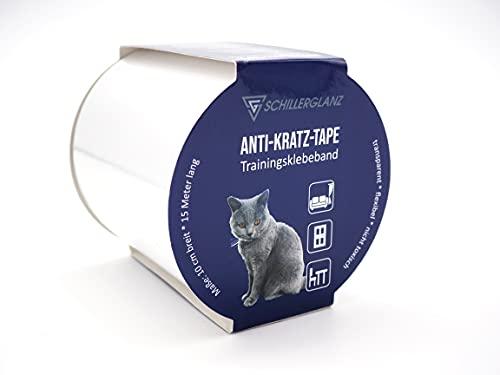 Schillerglanz Katzen Anti Kratz Tape 15m(10cm x 15m), Kratzschutz Trainingsklebeband Möbelschutz Katzenerziehung Übungsband Oberflächenschutz Möbel Couch Sofa Schutz