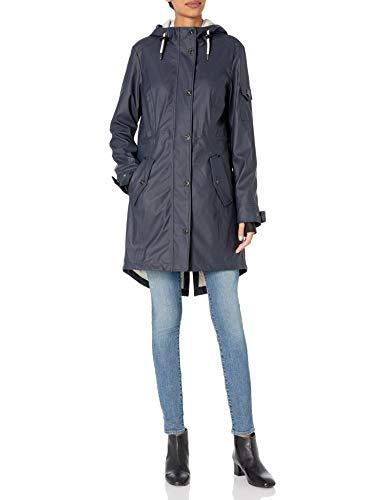 1 Madison Women's Matte Pu Rain Hooded Anorak Jacket, Dark Navy, M