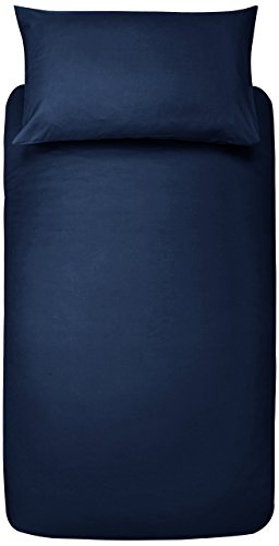 AmazonBasics Microfibre Duvet Cover Set, Single, Navy Blue