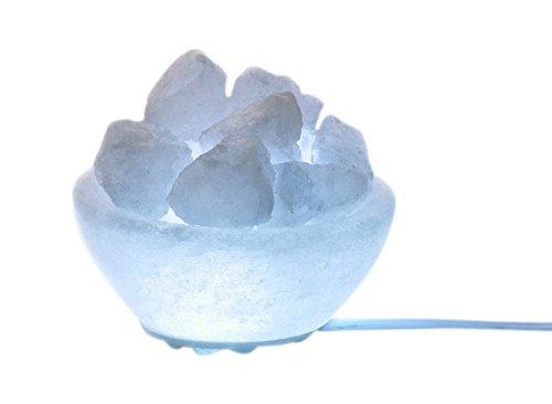 HIMALAYA SALT DREAMS Beleuchteter Salzkristallschale Petite rund White Line, Kristallsalz aus Punjab/Pakistan, Weiß, Ø 9 cm und Höhe von ca. 4 cm