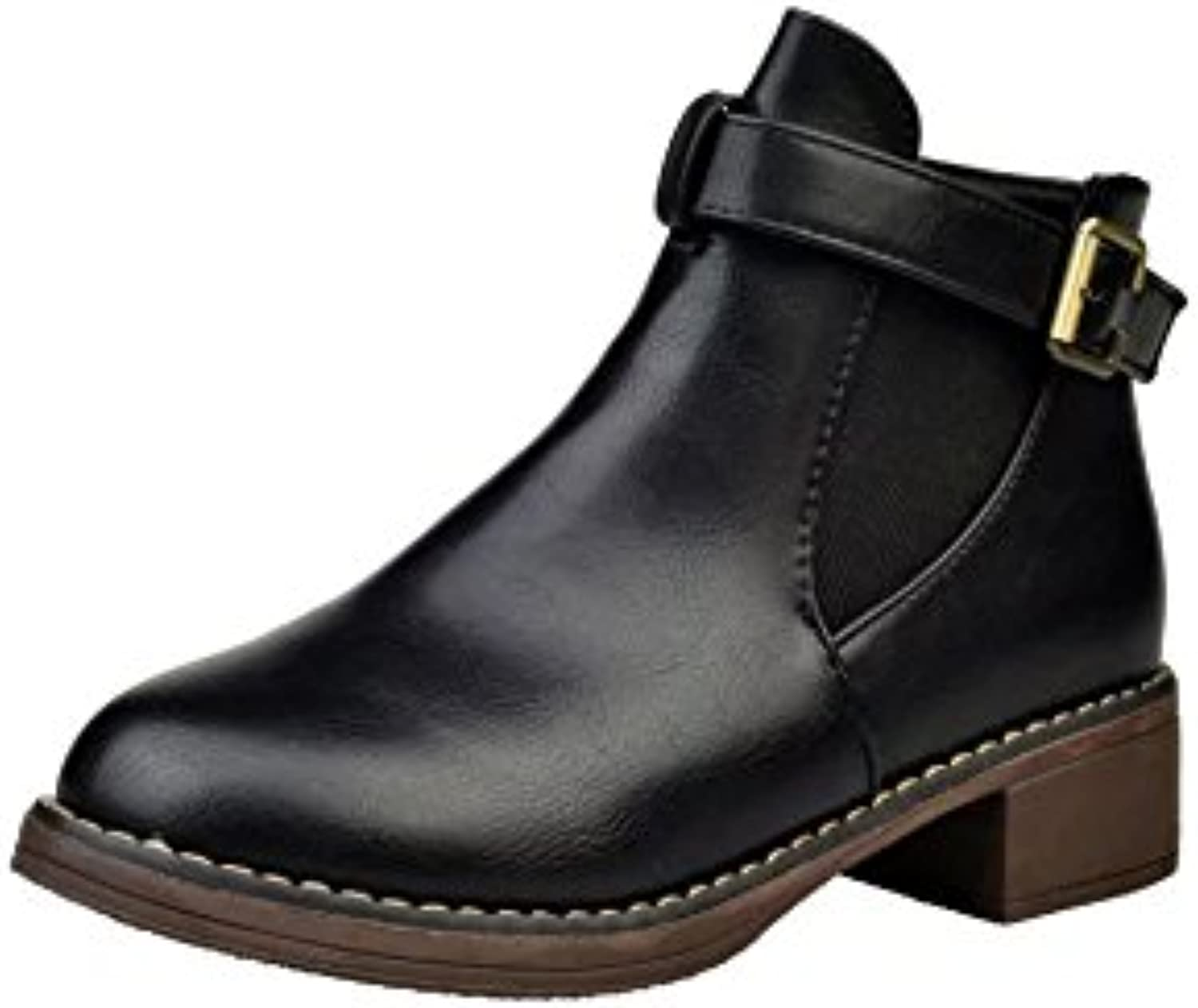 WYMBS Women's shoes Rough with Round Head Belt Buckle Short Boots