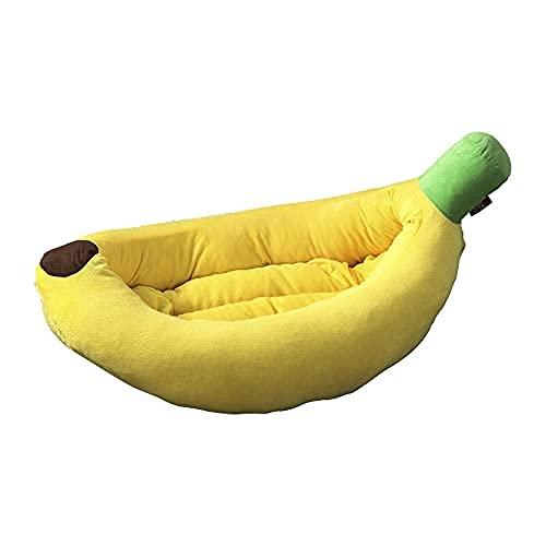 Confortevole Letti per cani banane, cat cane letto banana creativo banana a forma di banana sagomata cat nido caldo pet nido, comodo ultra morbido tutto stagione auto-riscaldamento cat & cane letto (S
