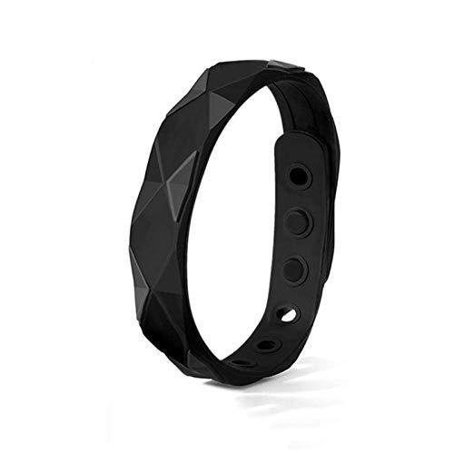 pulsera antiestática de equilibrio de energía pulsera deportiva de silicona impermeable con banda de iones negativos pulsera la pulsera iónica y elegante pulsera, para hombres y mujeres -24cm-negro