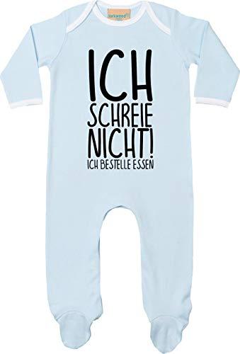 Kleckertegel baby pyjama sleepsuit longsleeved jongens meisjes rompler lange mouwen eendelig met opdruk motief Ik schrijf niet! Ik bestellen eten