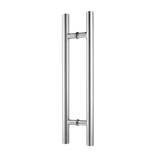 Ranbo 18 inches Solid Standoffs Heavy-Duty Commercial Grade-304 Stainless Steel Push Pull Door Handle/Barn Door Pull Handle/Glass Pulls, Mirror-Polished Chrome Finish