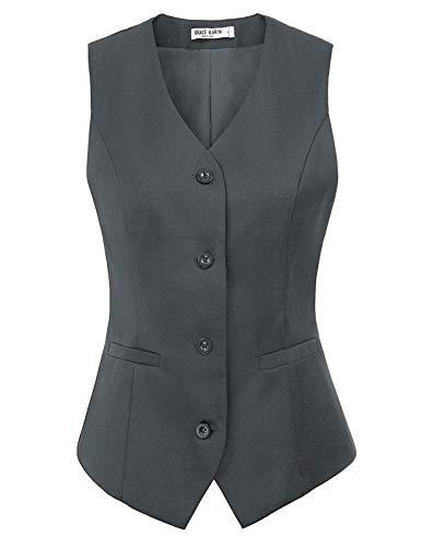 Womens Suit Vest Formal Business Tuxedo Waistcoat Sleeveless Jacket Coat Top(M,Gray #38)