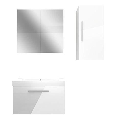 Preisvergleich Produktbild AcquaVapore Badmöbel Set City 100 V2 Hochglanz weiß,  Badezimmermöbel,  Waschtisch 80 cm JA mit 1x 5W LED / 1x Energiebox