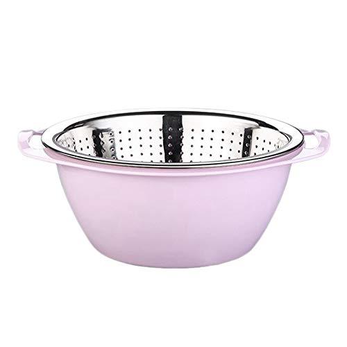 Basage Double Steel Colander Fruit Basket Bowl Washing Kitchen Strainer Noodles Fruit Gift Basin Wash (26CM)