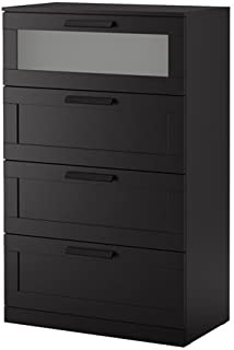 Ikea 4-drawer dresser, black, frosted glass Size 30 3/4x48 7/8
