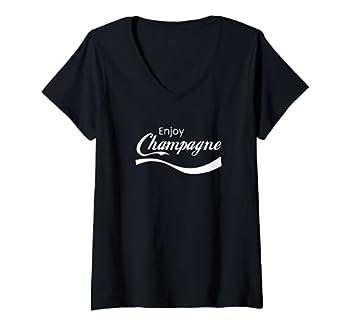 Womens Enjoy Champagne Drinking bubbly Sparkling wine Lover V-Neck T-Shirt