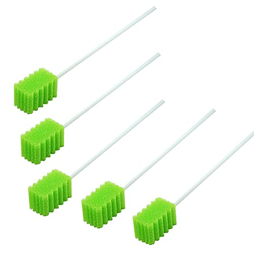 MUNKCARE Treated Oral Swabs with Dentifrice- Flavored Dental Swabs Individually Wrapped Fruit Green Tooth Shape for Oral Cavity Cleaning Sponge Swab, Box of 100 Counts