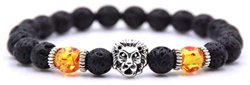 KEKEYANG Pulsera de piedra para mujer, 7 chakras, piedra ámbar natural, pulsera de lava volcánica, pulsera elástica para yoga, pulsera de la suerte, de plata y león
