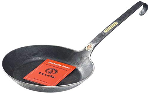 TURK Eisenpfanne Bratpfanne Pfanne mit Stiel freiform HANDGESCHMIEDET ohne Beschichtung 28 cm